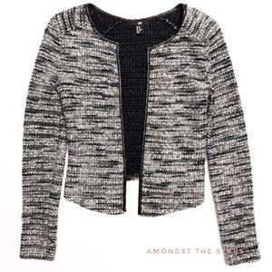 H&M Grey & Black Faux Leather Knit Blazer Jacket